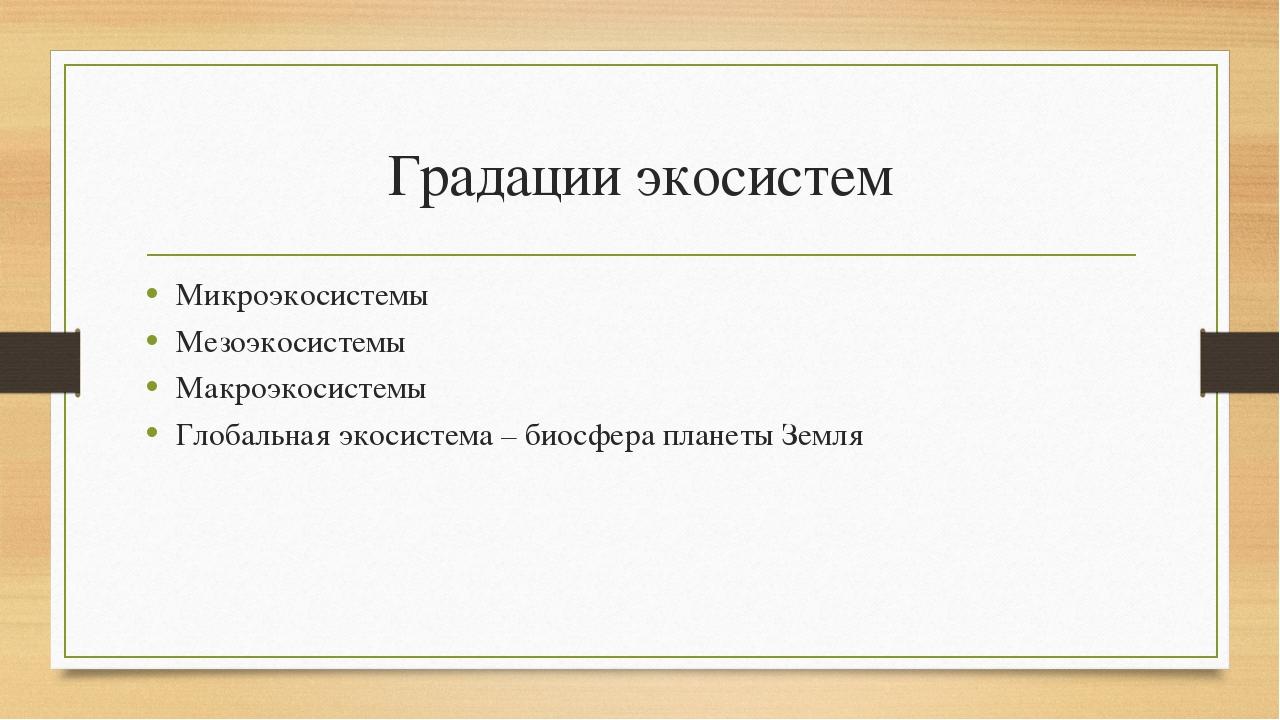 Градации экосистем Микроэкосистемы Мезоэкосистемы Макроэкосистемы Глобальная...