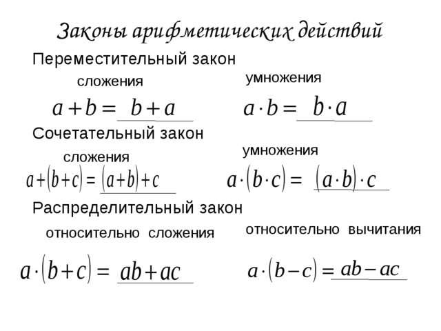 Законы арифметических действий Переместительный закон Сочетательный закон Рас...