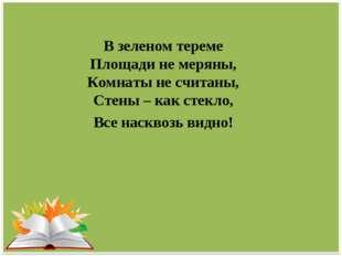 В зеленом тереме Площади не меряны, Комнаты не считаны, Стены – как стекло, В