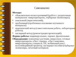 Самоанализ Методы: объяснительно-иллюстративный (работа с раздаточным материа
