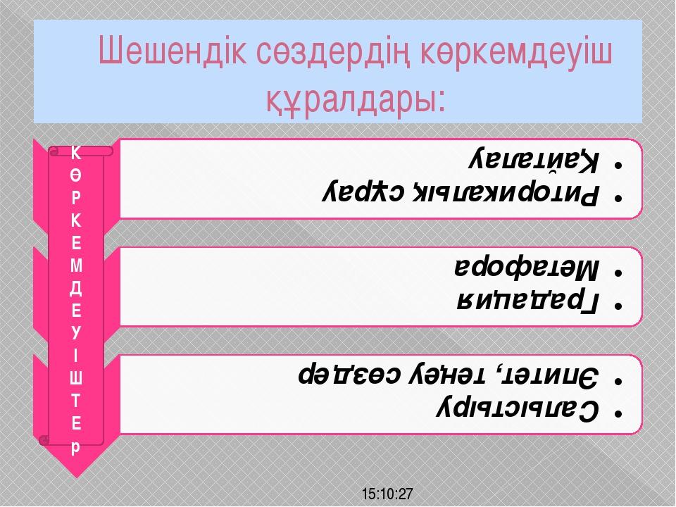Шешендік сөздердің көркемдеуіш құралдары: К Ө Р К Е М Д Е У І Ш Т Е р
