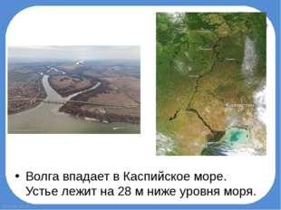 Волга впадает вКаспийское море. Устье лежит на 28м нижеуровня моря. Fokin