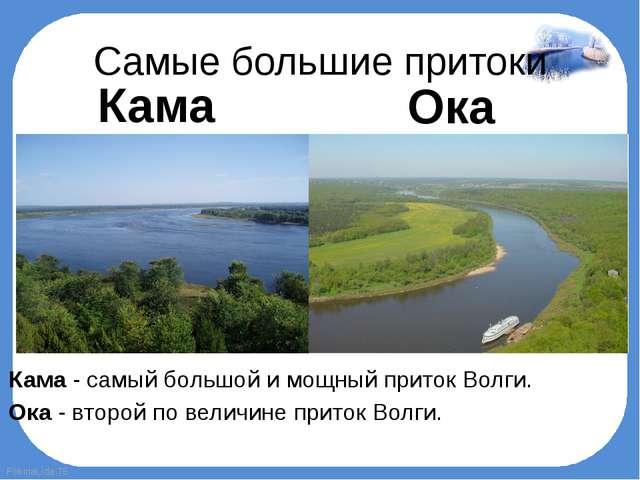 Самые большие притоки Кама - самый большой и мощный приток Волги. Ока - втор...