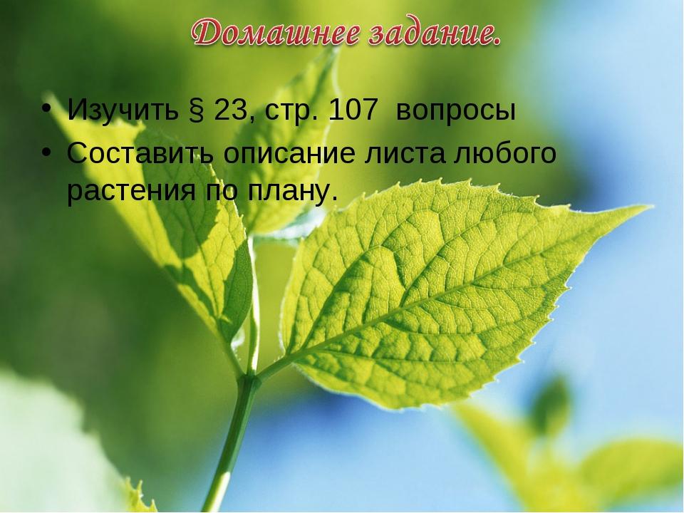 Изучить § 23, стр. 107 вопросы Составить описание листа любого растения по пл...