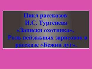 Цикл рассказов И.С. Тургенева «Записки охотника». Роль пейзажных зарисовок в