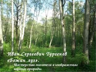 Иван Сергеевич Тургенев «Бежин луг». Мастерство писателя в изображении карти