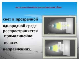 свет в прозрачной однородной среде распространяется прямолинейно во всех напр