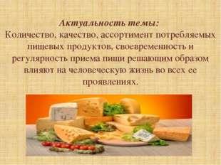 Актуальность темы: Количество, качество, ассортимент потребляемых пищевых пр