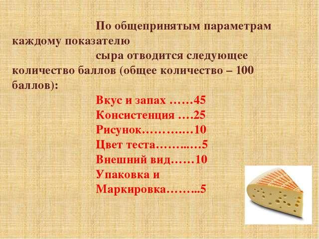 По общепринятым параметрам каждому показателю сыра отводится следующее количе...