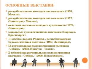 ОСНОВНЫЕ ВЫСТАВКИ: республиканская молодежная выставка (1976, Москва), респуб