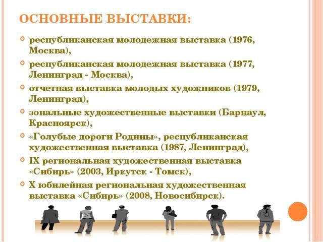 ОСНОВНЫЕ ВЫСТАВКИ: республиканская молодежная выставка (1976, Москва), респуб...