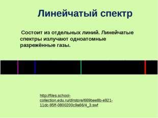 Состоит из отдельных линий. Линейчатые спектры излучают одноатомные разрежён