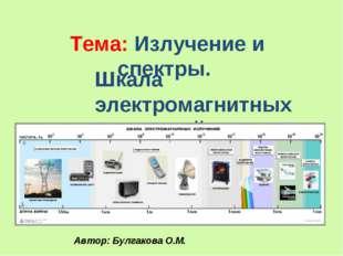 Тема: Излучение и спектры. Шкала электромагнитных излучений. Автор: Булгакова