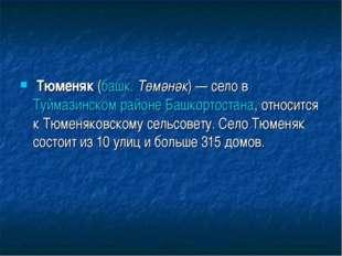 Тюменяк(башк.Төмәнәк)— село вТуймазинском районе Башкортостана, относитс