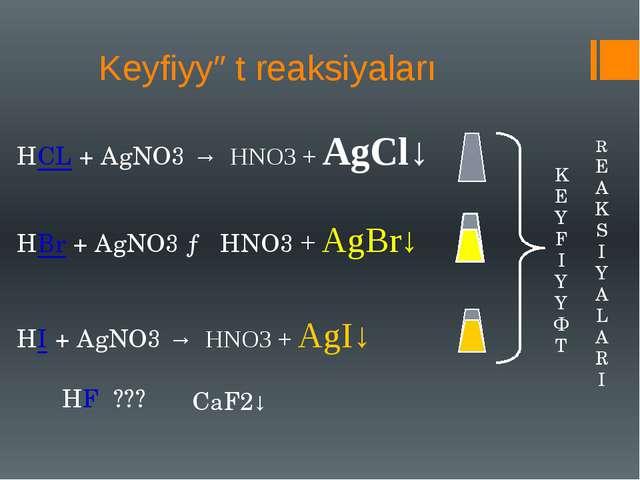 Keyfiyyət reaksiyaları HCL + AgNO3 → HNO3 + AgCl↓ HBr + AgNO3 → HNO3 + AgBr↓...