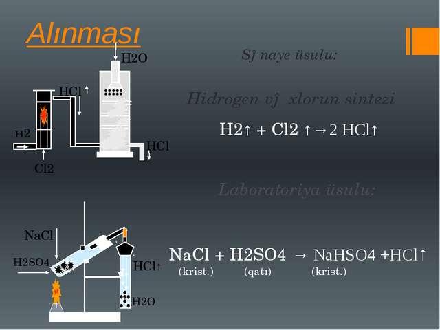Alınması H2↑ + Cl2 ↑→2 HCl↑ Laboratoriya üsulu: NaCl + H2SO4 → NaHSO4 +HCl↑ (...