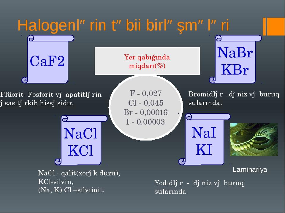 Halogenlərin təbii birləşmələri CaF2 NaBr KBr NaCl KCl NaI KI Flüorit- Fosfor...