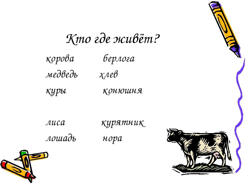 Кто где живёт? корова берлога медведь хлев куры конюшня лиса курятник лошадь...