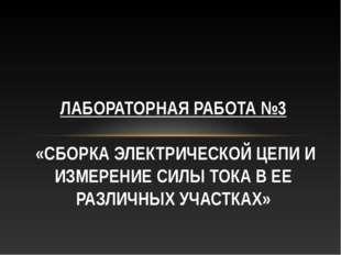 ЛАБОРАТОРНАЯ РАБОТА №3 «СБОРКА ЭЛЕКТРИЧЕСКОЙ ЦЕПИ И ИЗМЕРЕНИЕ СИЛЫ ТОКА В ЕЕ