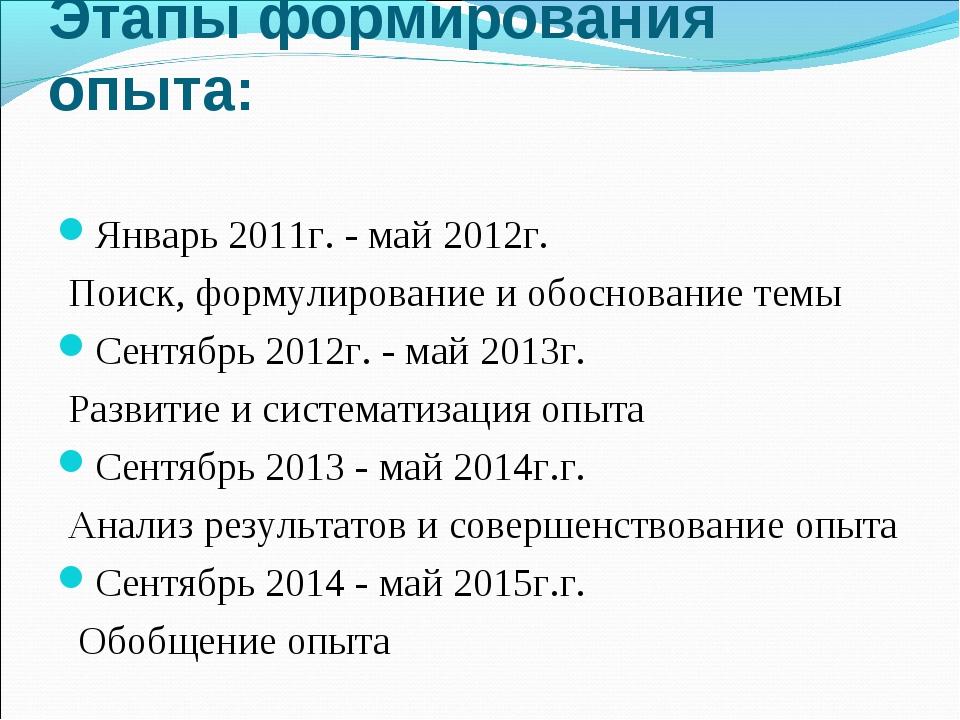 Этапы формирования опыта: Январь 2011г. - май 2012г. Поиск, формулирование и...