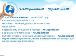 Альтернатива – первые шаги Отряд «Альтернатива» создан в 2010 году. Количеств