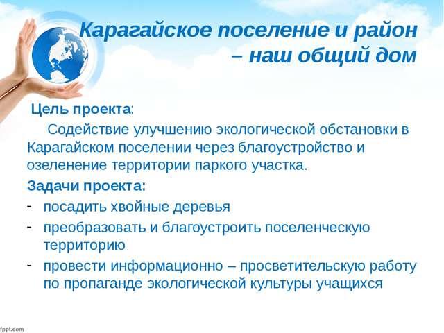 Карагайское поселение и район – наш общий дом Цель проекта: Содействие улу...