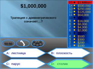 A: лестница C: парус B: плоскость D: столик 50:50 15 14 13 12 11 10 9 8 7 6 5