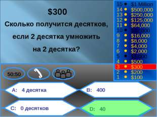 A: 4 десятка C: 0 десятков B: 400 D: 40 50:50 15 14 13 12 11 10 9 8 7 6 5 4 3