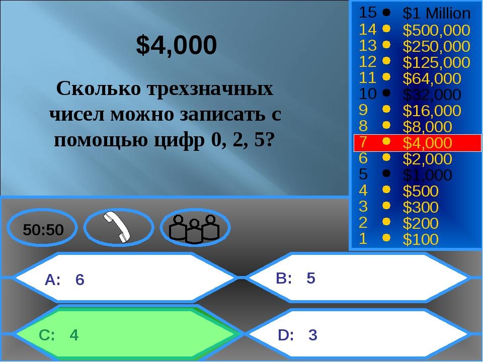 A: 6 C: 4 B: 5 D: 3 50:50 15 14 13 12 11 10 9 8 7 6 5 4 3 2 1 $1 Million $500...