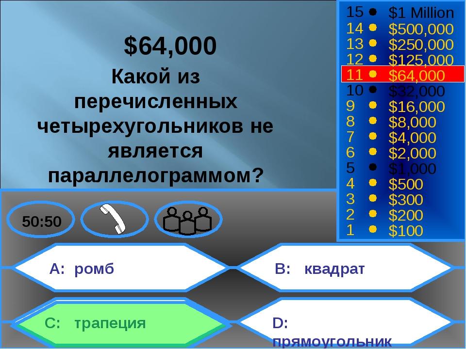 A: ромб C: трапеция B: квадрат D: прямоугольник 50:50 15 14 13 12 11 10 9 8 7...