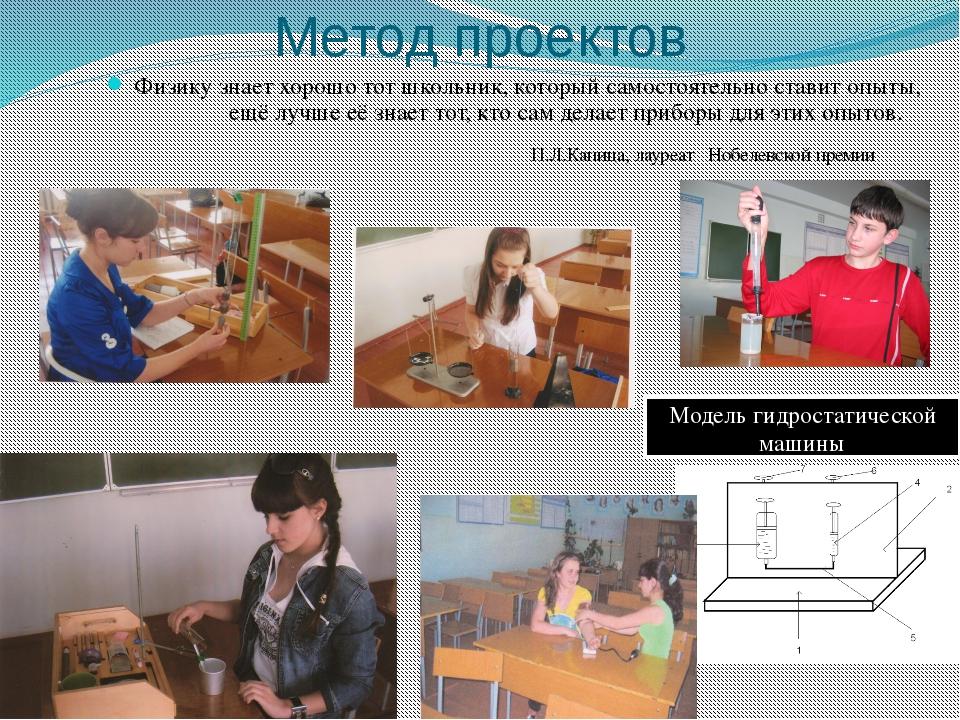 Метод проектов Физику знает хорошо тот школьник, который самостоятельно стави...