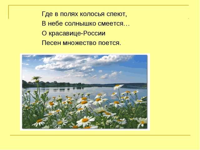 Где в полях колосья спеют, В небе солнышко смеется… О красавице-России Песен...