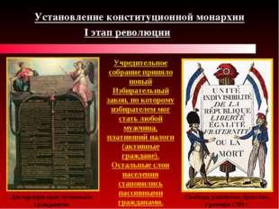 I этап революции Установление конституционной монархии Декларация прав челове