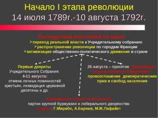 Начало I этапа революции 14 июля 1789г.-10 августа 1792г. Последствия восстан