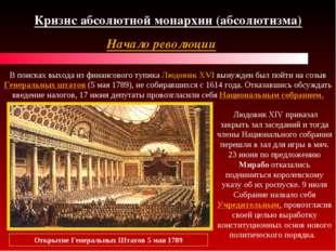 Кризис абсолютной монархии (абсолютизма) Начало революции В поисках выхода из