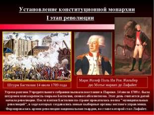 Установление конституционной монархии I этап революции Штурм Бастилии 14 июля