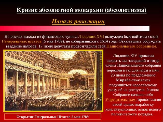 Кризис абсолютной монархии (абсолютизма) Начало революции В поисках выхода из...
