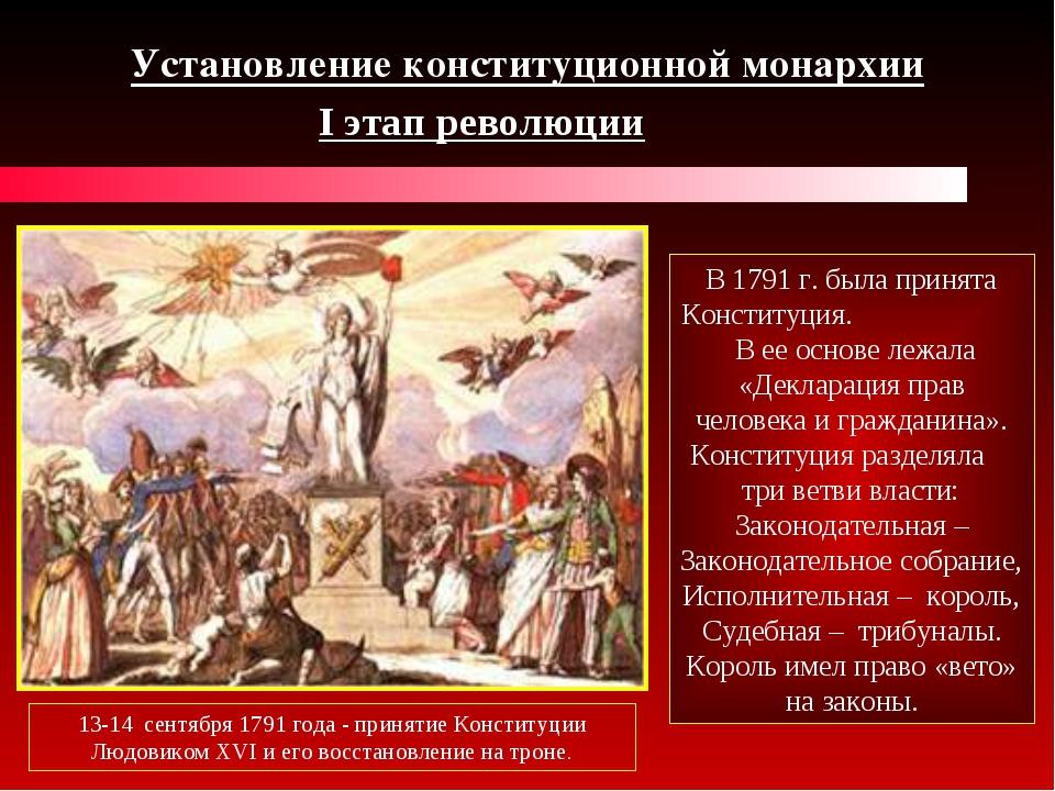 Установление конституционной монархии I этап революции 13-14 сентября 1791 го...