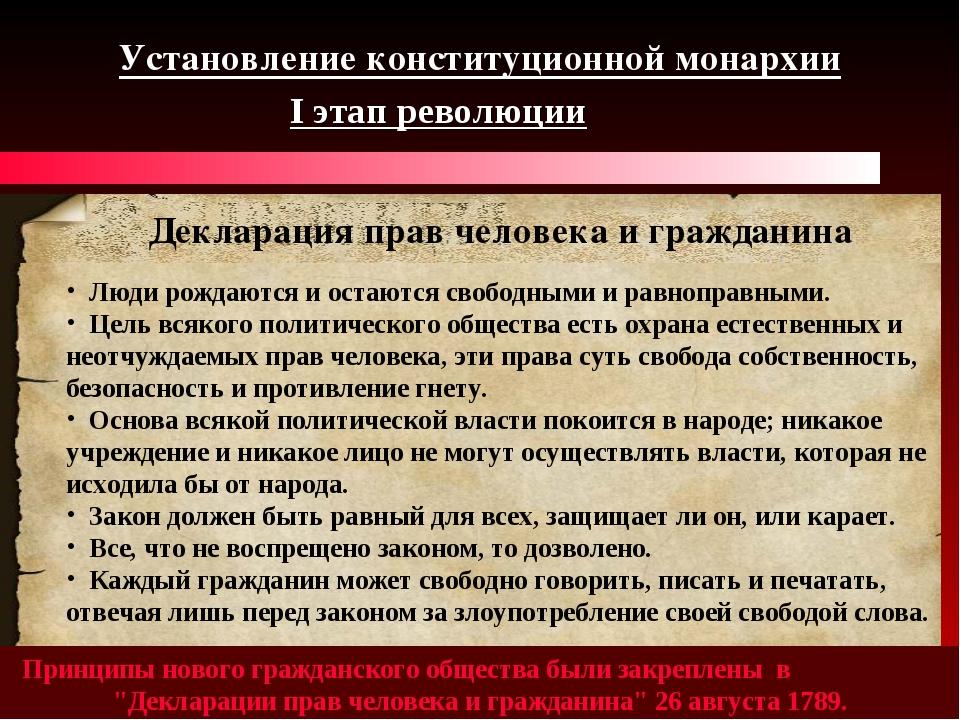 Установление конституционной монархии I этап революции Принципы нового гражда...