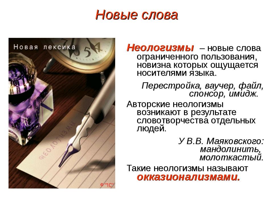 Неологизмы – новые слова ограниченного пользования, новизна которых ощущается...