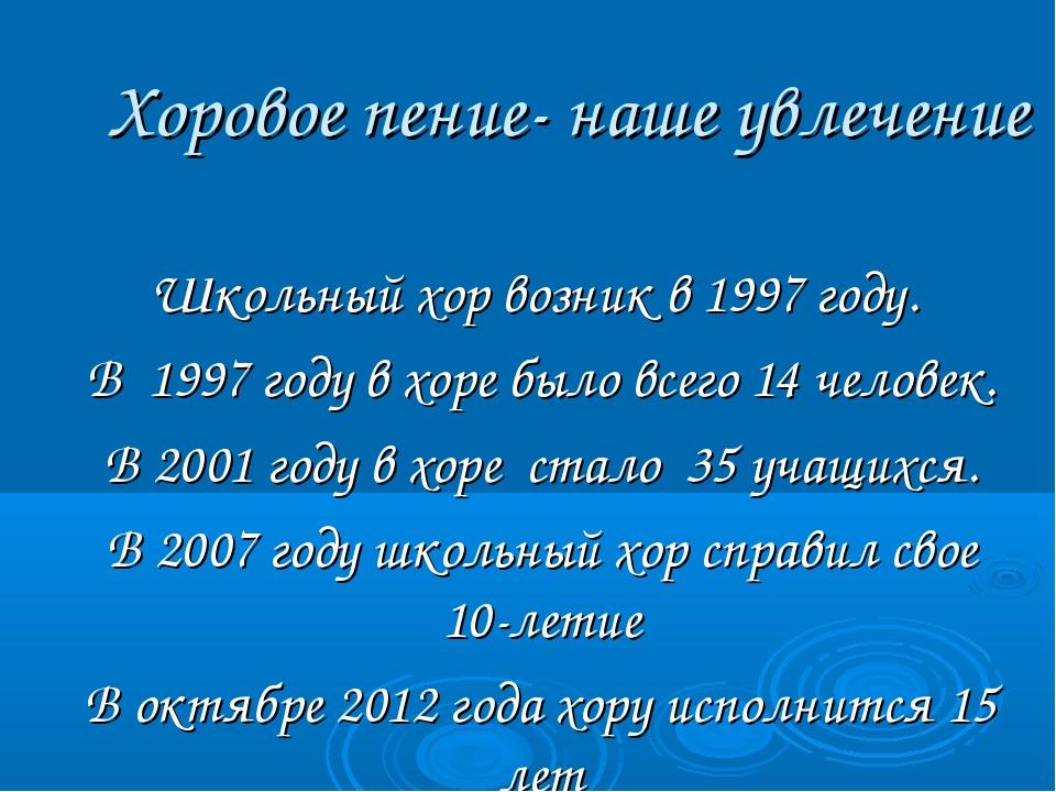 Хоровое пение- наше увлечение Школьный хор возник в 1997 году. В 1997 году в...