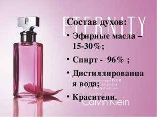 Состав духов: Эфирные масла – 15-30%; Спирт - 96% ; Дистиллированная вода; К