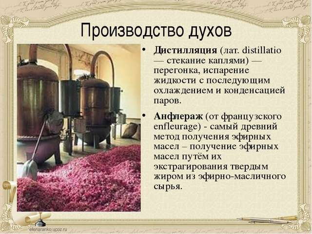 Производство духов Дистилляция (лат. distillatio — стекание каплями) — перего...