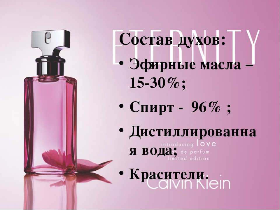 Состав духов: Эфирные масла – 15-30%; Спирт - 96% ; Дистиллированная вода; К...