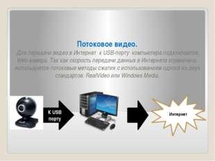 Потоковое видео. Для передачи видео в Интернет к USB-порту компьютера подключ