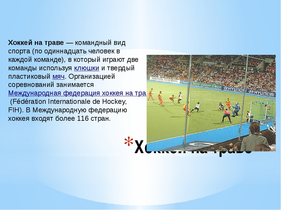Хоккей на траве Хоккей на траве— командный вид спорта (по одиннадцать челове...