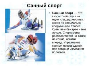 Санный спорт Санный спорт — это скоростной спуск на одно или двухместных саня