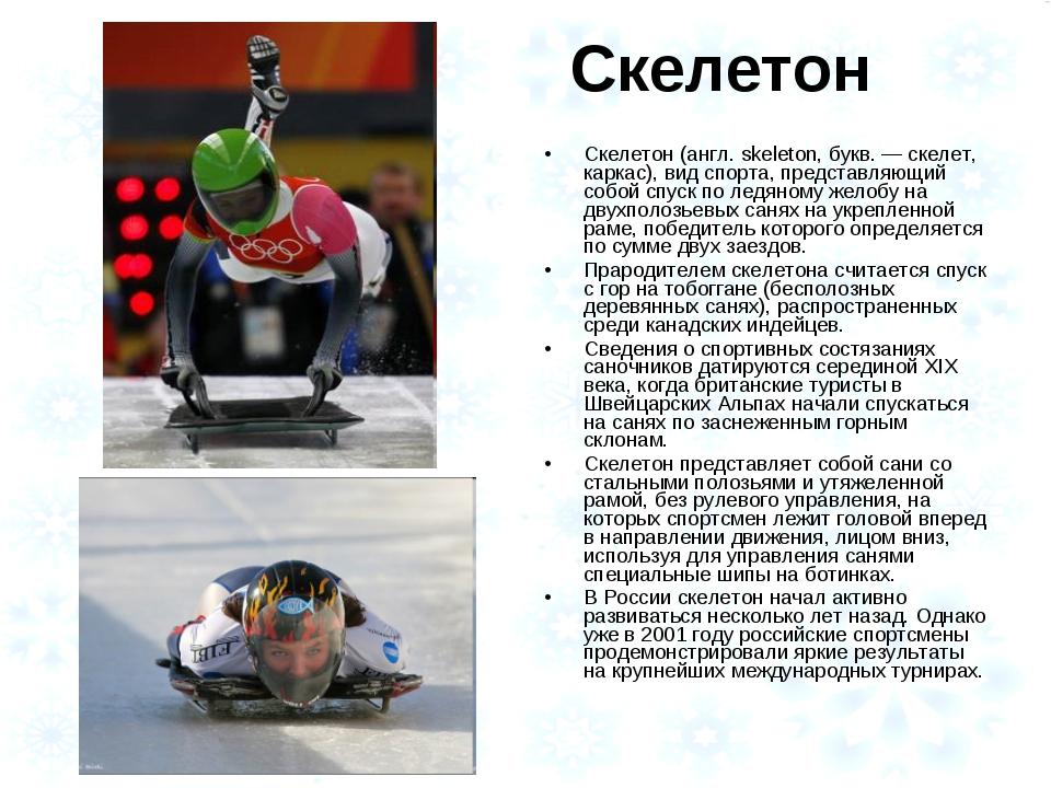Скелетон Скелетон (англ. skeleton, букв. — скелет, каркас), вид спорта, предс...