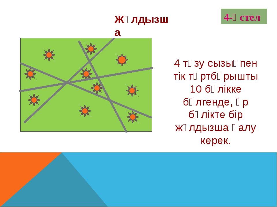 + 4-үстел 4 түзу сызықпен тік төртбұрышты 10 бөлікке бөлгенде, әр бөлікте бір...
