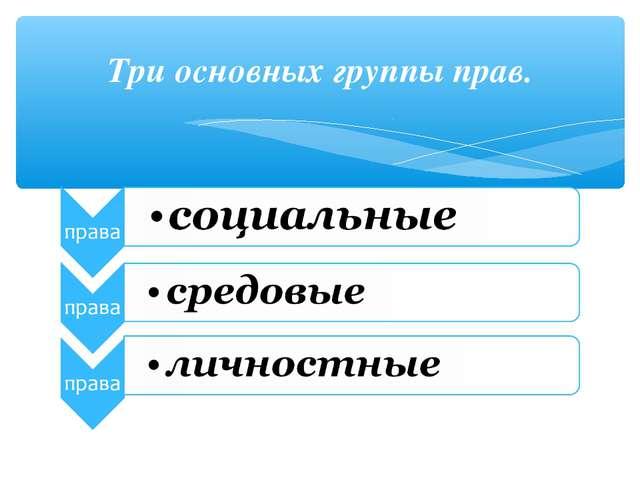 Три основных группы прав.